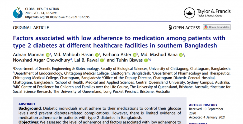 New article on low medication adherence